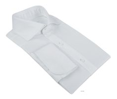 Luxire dress shirt constructed in Lustrous Fine White  Consists of English collar with 3.5″ collar points, 5 5/8″ spread, 1 9/16″ rear collar band height and french cuffs.