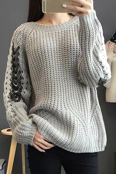 Preppy Style Women's Round Neck Knitted Long Sleeve Sweater