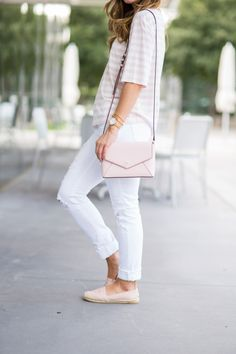 Pale pink stripe shirt + slip-on shoes + white jeans