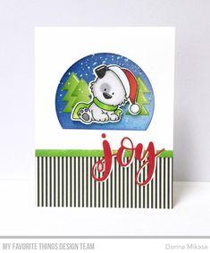 Stamps: Happy Pawlidays |  Die-namics: Happy Pawlidays, Scenic Snow Globe, Joy, Stitched Arch STAX  Donna Mikasa  #mftstamps