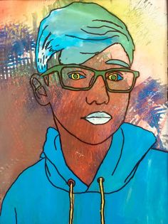 Reverse Painting Acetate Self Portraits Middle School Art Projects Self Portrait Art 7th Grade Art