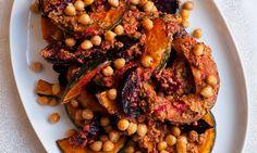 Nigel Slater's vegetarian Christmas recipes. Roast pumpkin with peanut sauce