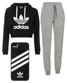 """Adidas cropped sweatshirt with grey sweatpants and a black adidas phone case"" by ellie-schraut on Polyvore featuring Topshop, Icebreaker and adidas"