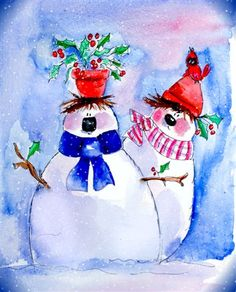 Snowmen - Cardinal on hat Frosty The Snowmen, Cute Snowman, Christmas Snowman, Christmas Crafts, Christmas Decorations, Snowmen Paintings, Snowman Images, I Love Winter, Watercolor Cards