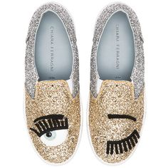 Chiara Ferragni Two Tone Flirting Slip On Sneaker ($320) ❤ liked on Polyvore featuring shoes, sneakers, platform shoes, rubber sole shoes, glitter sneakers, slip on trainers and slip on shoes