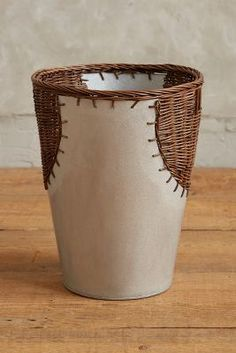 Anthropologie Wrapped Rattan Waste Basket #anthrofave #anthropologie Ceramic Birds, Ceramic Vase, Ceramic Pottery, The Potter's Hand, Clay Texture, Textile Sculpture, Jute Crafts, Organic Art, Hand Built Pottery