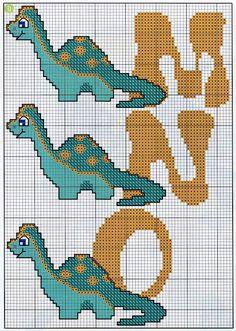 ENCANTOS EM PONTO CRUZ: Monograma Dinossauro