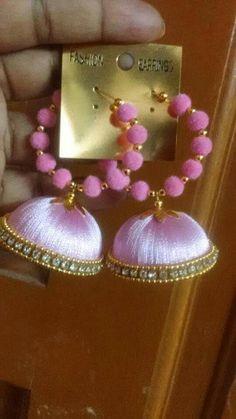 To order whatsapp me on 7277140539 Silk Thread Jhumkas, Silk Thread Earrings, Thread Jewellery, Golden Earrings, Drop Earrings, Beaded Necklace Patterns, Quilling Jewelry, Hula, Tassels