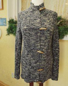 243bdd4f3d Womens L Toggle Sweater Coat Black Multi Variegated Wool Blend Long Sleeves