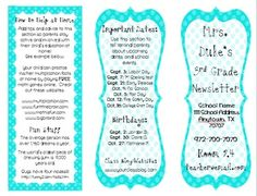 This fun, colorful classroom newsletter is the perfect way to keep parents informed about what is going on in your classroom! This newsletter template is editable and customizable. Use with report cards! Class Newsletter, Classroom Newsletter Template, Newsletter Templates, Newsletter Ideas, Letter To Parents, Parents As Teachers, Teaching Tools, Teaching Resources, Teaching Ideas
