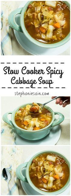This Slow Cooker Spicy Cabbage Soup is chocked full of healthy veggies and is really easy to prepare in the slow cooker. Vegan, Vegetarian, & Gluten Free.