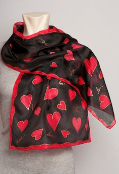 Valentines' Day Present Hand Painted Silk Scarf with Sweet Heart Style Design Red Black Gift Love Writting 13 X  50 READY TO Ship