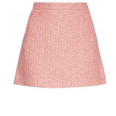 Gucci Tweed A-line mini skirt (1 025 AUD) ❤ liked on Polyvore featuring skirts, mini skirts, a-line skirt, short mini skirts, mini skirt, high-waisted skirts and pink high waisted skirt