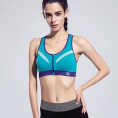 d45a0e03aeca1  AP  Professional Shockproof Women Zipper Sports Bra Push Up Top Underwear  With Inner Pad