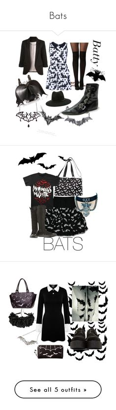 """Bats"" by wraithofsalem ❤ liked on Polyvore featuring Forever 21, Iron Fist, Boohoo, WithChic, Killstar, Underground, Betsey Johnson, Sourpuss, Demonia and cutekawaii"