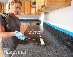Rust-Oleum's new Countertop Transformations coating system (available at home centers and some hardware stores) is a simple way to transform worn or damaged laminate countertops into a new countertop surface. The product is available in five colors ranging from light to very dark (for this project we chose Charcoal). Read more: http://www.familyhandyman.com/kitchen/countertops/ideas-for-the-kitchen-renew-kitchen-countertops/view-all#ixzz3RcUPuP56