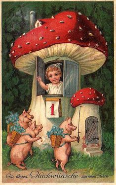 Vintage German postcard from Puppilottchen at http://www.flickr.com/photos/32082400@N00/2158591749/ {my mum would love this}