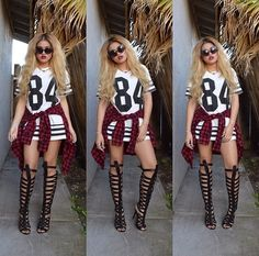 Urban summer fashion! Oversized jersey dress, red flannel, black knee high gladiator boots