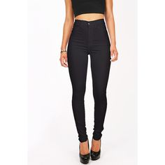 Pink Ice Spectrum High Waist Skinnys ($40) ❤ liked on Polyvore featuring pants, jeans, bottoms, calças and black