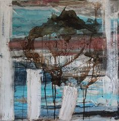 "Saatchi Art Artist Sylvie Dodin; Painting, ""Blue tsunami acrylic & mixed media 100x100"" #art"
