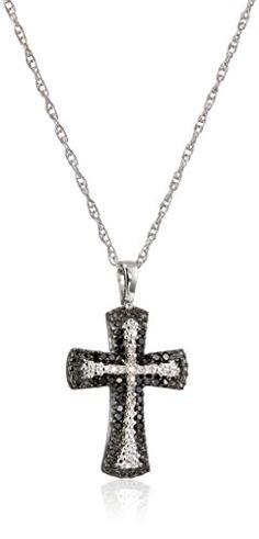 Sterling Silver Black and White Diamond Cross Pendant Necklace (1/4 Cttw), 18″by Amazon Collection - See more at: http://blackdiamondgemstone.com/jewelry/necklaces/pendants/sterling-silver-black-and-white-diamond-cross-pendant-necklace-14-cttw-18-com/#sthash.JpcrZTr8.dpuf