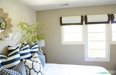 Blue and White Guest Bedroom via Life On Virginia Street Life On Virginia Street, How To Take Photos, Mudroom, House Tours, Outdoor Spaces, Guest Room, Pillow Cases, Blue And White, House Design