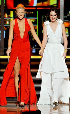 love them blake lively v-neck gossip girl scarlett red tan thigh split awards white