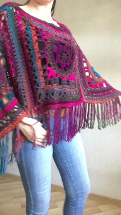 Rainbow Poncho Pride Women, Crochet outlander Triangle Shawl Wraps Fringe, Plus size Festival Vegan, Mom-Birthday-Gift-from-Daughter Crochet Poncho Patterns, Crochet Shawls And Wraps, Crochet Cardigan, Crochet Jacket, Crochet Triangle, Triangle Scarf, Crochet Squares, Outlander Knitting Patterns, Hand Knitting