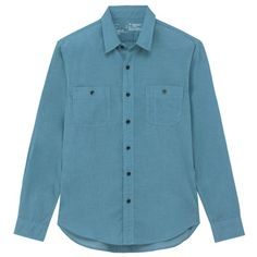 POLYESTER CT DOUBLE POCKET SHIRT MEN XL LIGHT BLUE | MUJI