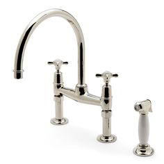 Easton Classic Two Hole Bridge Kitchen Faucet, Metal Cross Handles And  White Porcelain Spray,
