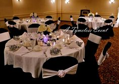 black chair covers nicely tied satin sash- no bows!