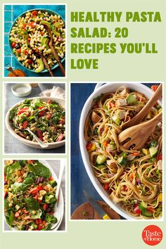 Packed with fresh produce and seasonal flavors, these healthy pasta salad recipes are a delicious addition to your menu. Yummy Pasta Recipes, Potluck Recipes, Pasta Salad Recipes, Healthy Pasta Salad, Healthy Pastas, Potluck Salad, Macaroni Salad, Cucumber Salad, Coleslaw