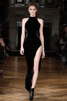 Nicole Scherzinger wearing Kristian Aadnevik Aw 2013 Black Velvet Dress.