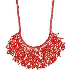 Coral Reef Beaded Bib Necklace (435.905 IDR) ❤ liked on Polyvore featuring jewelry, necklaces, coral, bead necklace, coral jewellery, bead jewellery, beaded bib necklace and beading jewelry