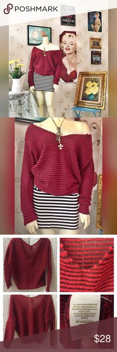 3⏳ SALE ✨Free People Red Stripe bumblebee Sweater Style and design is to be worn slightly oversize off the shoulder. Excellent pre worn condition. Could fit a small medium. No trades please. Bundle with the French Connection mini for additional discounts. PRICE IS FIRM ON FLASH SALES!! Free People Tops Tees - Long Sleeve
