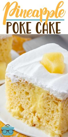 This Easy Pineapple Pudding Poke Cake recipe is made with a boxed cake mix, pine… This recipe for Easy Pineapple Pudding Poke Cake consists of a cake mix, pineapple slices, vanilla pudding and cool whip. Pineapple Poke Cake, Pineapple Pudding, Pineapple Recipes, Pineapple Slices, Pineapple Desserts, Poke Cakes, Poke Cake Recipes, Cupcake Cakes, Dessert Recipes