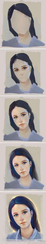 【作画教程】美图头像作画教程一枚~作者@...@cryul采集到教程——手绘(407图)_花瓣插画