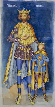 Mircea the Elder and his son Medieval Clothing, Orthodox Icons, Crown Jewels, Byzantine, Fashion History, 17th Century, Ikon, Sketches, Military
