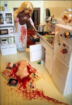 typical argument in kitchen... causes... a MURDER by a inocen dolly.. Barbie..>:)