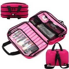 Professional Makeup Train Bags Cosmetic Tools Storage Zip Handbag Travel Case #Unbranded