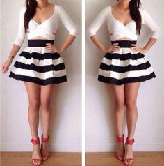Stylish skirt black and white