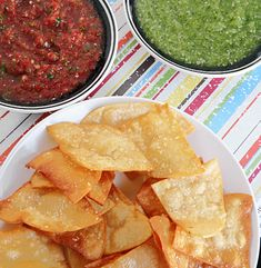 Oh mommy! Homemade Lime Tortilla chip and red and green salsas. Por favor?
