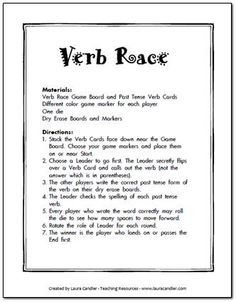 Verb Race Game Freebie from Laura Candler's online file cabinet