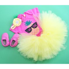 Pineapple First Birthday Outfit, tropical first birthday party, tropical tutu for baby girl. Shoes are not included.