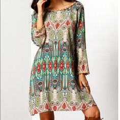 Bohemian tunic beach dress Beautiful long sleeve scoop neck boho style dress. Cute, colorful, comfortable, and casual! Made of a cotton blend Dresses Midi