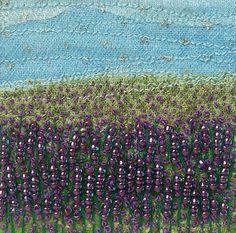 Beaded & embroidered card Lavender landscape by StitchMikki