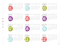 2014 year at a glance printable calendar   Red Stamp