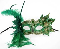 VENETIAN MASK masquerade fairy costume GREEN poison ivy faerie ethereal leaves | eBay