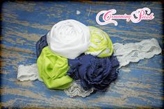 Blue, White, Neon Lime Green, Fabric Flower Headband, Navy, Chartreuse, Baby Girl Hair Bow, Headband, Baby Girl Hair Clip, Photo Prop