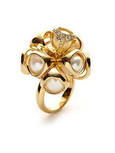 Icona Pearl & Diamond Cluster Ring by Di MODOLO at Gilt